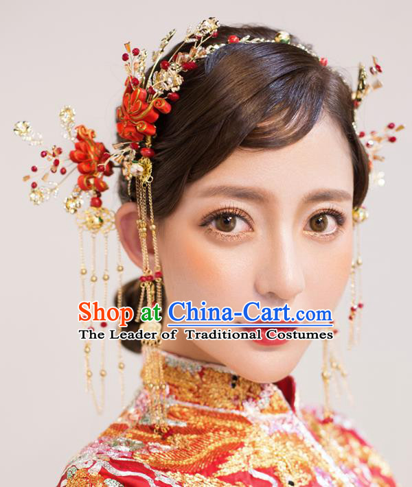 Chinese Traditional Palace Hair Accessories Ancient Hairpins Xiuhe Suit Hair Clasp Complete Set for Women