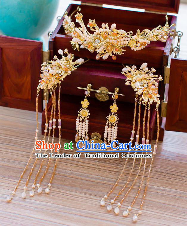 Chinese Traditional Palace Hair Accessories Ancient Hairpins Xiuhe Suit Golden Hair Clasp Complete Set for Women