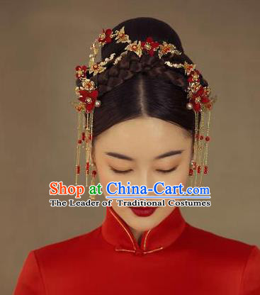 Chinese Traditional Palace Hair Accessories Ancient Hairpins Xiuhe Suit Hair Clasp Phoenix Coronet for Women