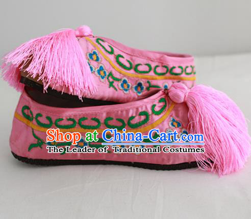 Chinese Traditional Embroidered Shoes Ancient Beijing Opera Pink Blood Stained Shoes for Women