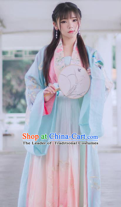 Chinese Ancient Song Dynasty Princess Embroidered Costumes Palace Lady Traditional Hanfu Dress for Women