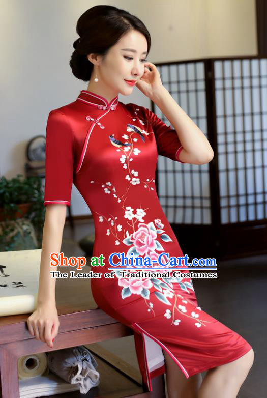 Top Grade Chinese Elegance Red Qipao Dress National Costume Traditional Mandarin Cheongsam for Women
