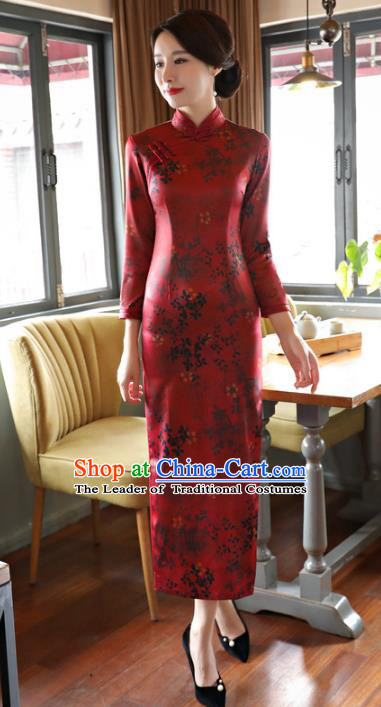 Top Grade Chinese Elegance Red Watered Gauze Qipao Dress National Costume Traditional Mandarin Cheongsam for Women