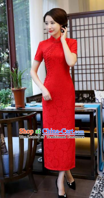 Top Grade Chinese National Costume Red Lace Qipao Dress Traditional Tang Suit Cheongsam for Women