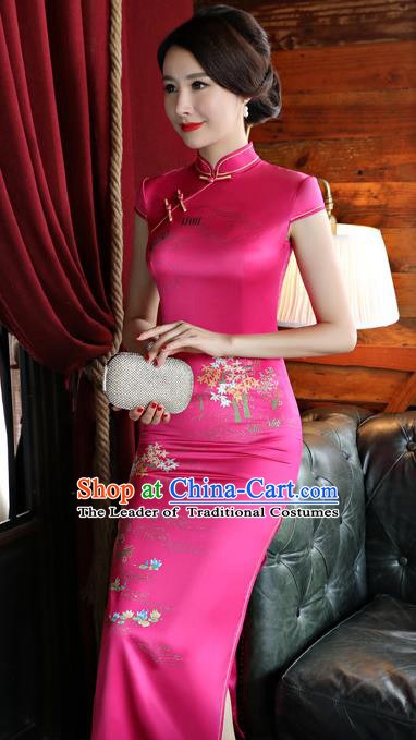 Top Grade Chinese National Costume Printing Rosy Silk Qipao Dress Traditional Tang Suit Cheongsam for Women