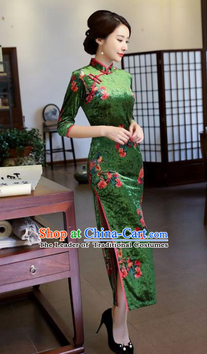 Top Grade Chinese National Costume Printing Green Velvet Qipao Dress Traditional Tang Suit Cheongsam for Women