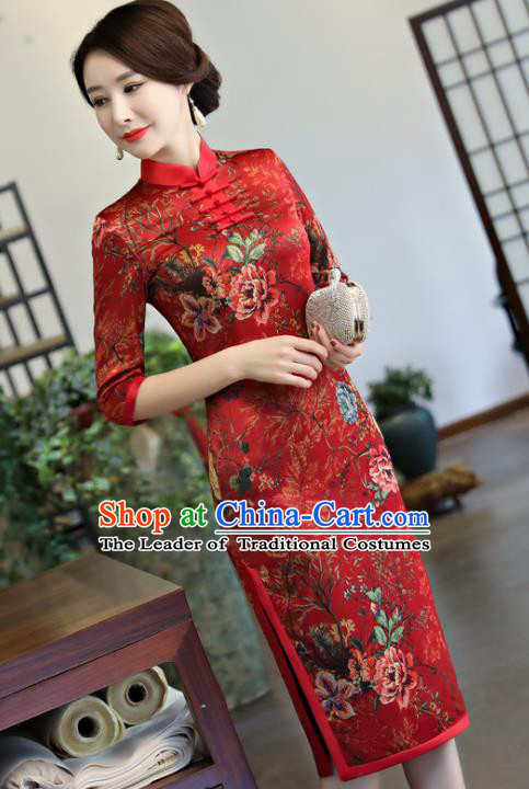 Top Grade Chinese Red Watered Gauze Qipao Dress National Costume Traditional Mandarin Cheongsam for Women