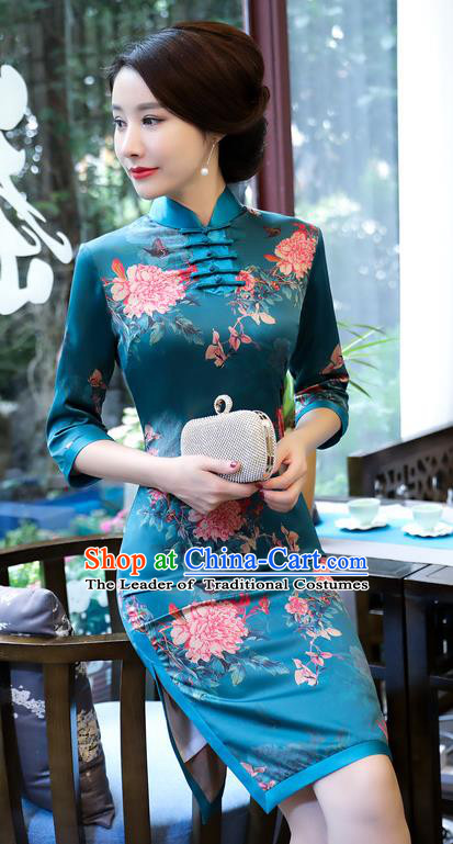 Top Grade Chinese Blue Watered Gauze Qipao Dress National Costume Traditional Mandarin Cheongsam for Women