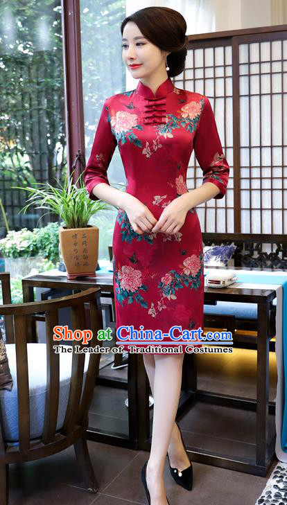 Top Grade Chinese Wine Red Watered Gauze Qipao Dress National Costume Traditional Mandarin Cheongsam for Women