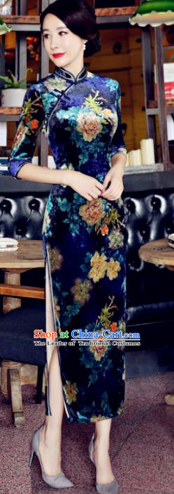 Top Grade Chinese National Costume Blue Velvet Qipao Dress Traditional Lace Cheongsam for Women