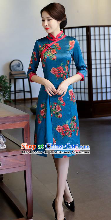 Chinese National Costume Handmade Printing Blue Watered Gauze Qipao Dress Traditional Cheongsam for Women