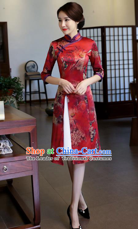 Chinese National Costume Handmade Printing Red Watered Gauze Qipao Dress Traditional Cheongsam for Women