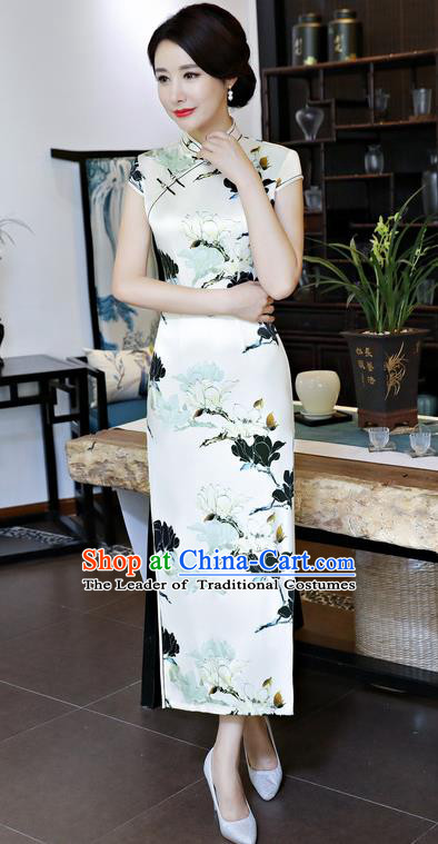 Chinese National Costume Tang Suit Qipao Dress Traditional Printing Mangnolia White Cheongsam for Women