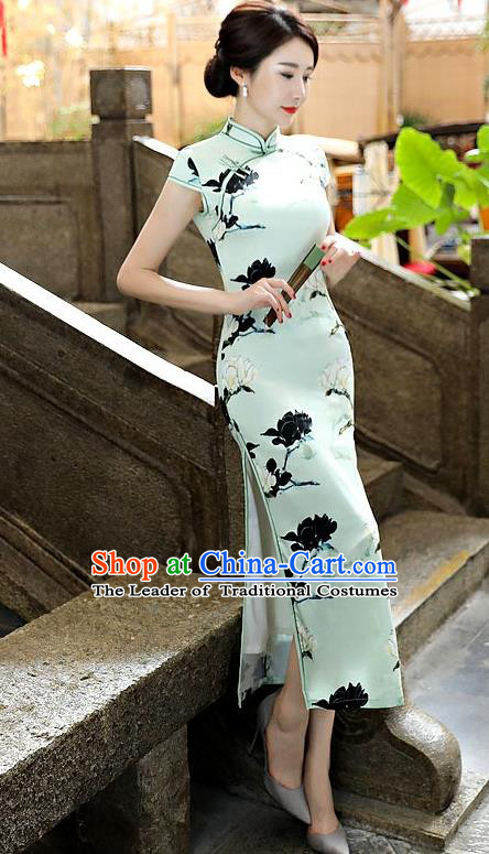 Chinese National Costume Tang Suit Qipao Dress Traditional Printing Mangnolia Green Cheongsam for Women