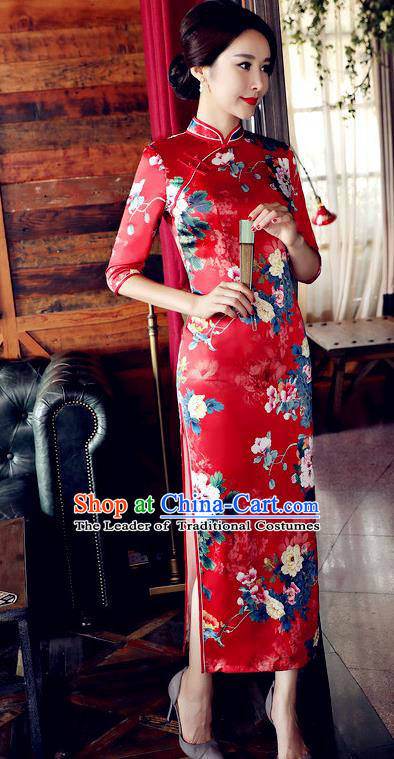 Chinese National Costume Handmade Qipao Dress Traditional Tang Suit Printing Red Watered Gauze Cheongsam for Women