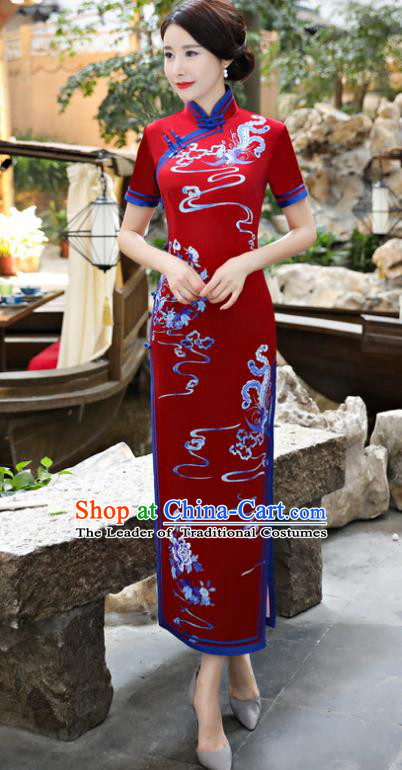 Chinese National Costume Tang Suit Silk Qipao Dress Traditional Printing Phoenix Red Cheongsam for Women