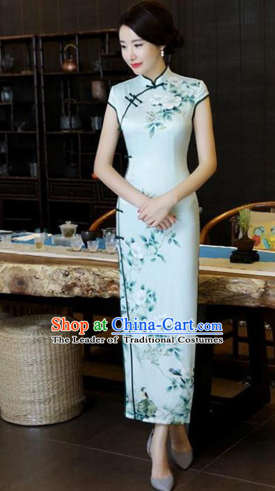 Chinese National Costume Tang Suit Qipao Dress Traditional Printing Flowers Green Cheongsam for Women