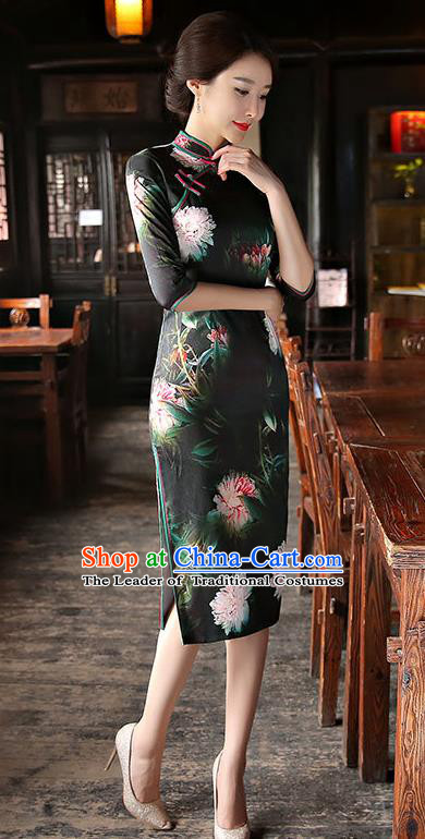 Chinese National Costume Tang Suit Retro Qipao Dress Traditional Printing Peony Cheongsam for Women