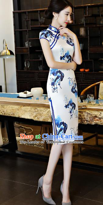 Chinese National Costume Tang Suit Retro Qipao Dress Traditional Printing Lotus Silk Cheongsam for Women