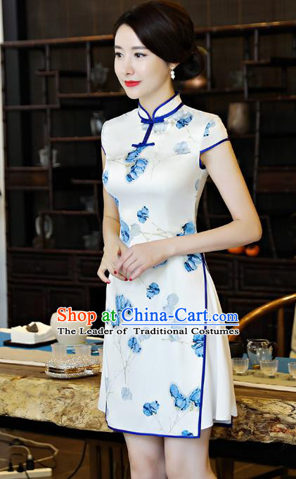 Chinese National Costume Tang Suit Retro Qipao Dress Traditional Printing White Silk Cheongsam for Women