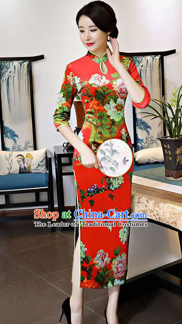 Chinese National Costume Handmade Red Qipao Dress Traditional Tang Suit Printing Silk Cheongsam for Women