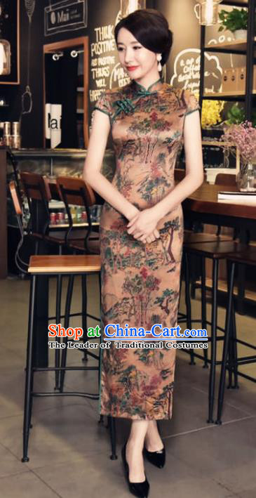 Chinese National Costume Handmade Brown Silk Qipao Dress Traditional Tang Suit Printing Cheongsam for Women