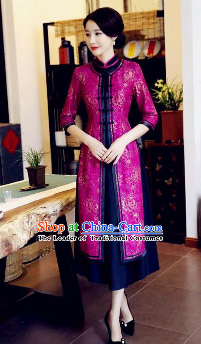 Chinese National Costume Handmade Rosy Qipao Dress Traditional Tang Suit Two-pieces Cheongsam for Women