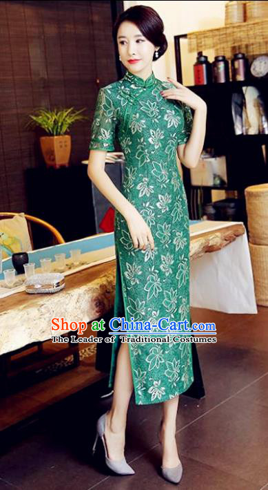 Chinese National Costume Handmade Tang Suit Green Lace Qipao Dress Traditional Long Cheongsam for Women