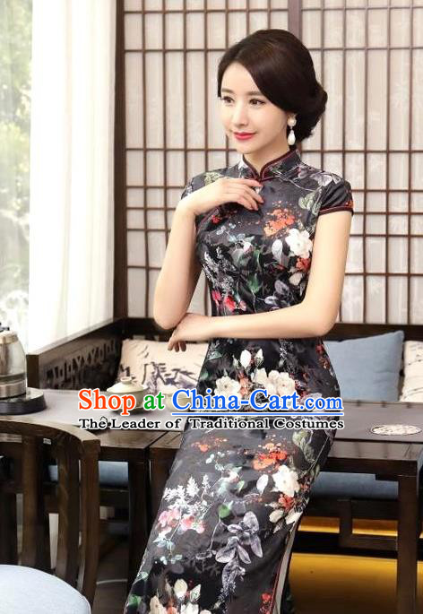 Chinese National Costume Handmade Tang Suit Black Qipao Dress Traditional Printing Silk Cheongsam for Women
