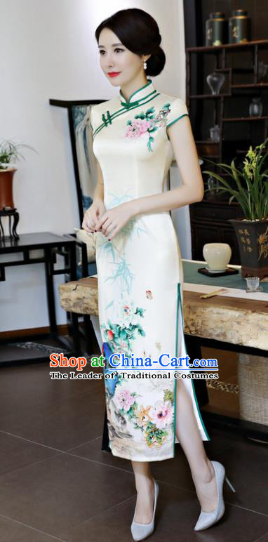 Chinese National Costume Handmade Tang Suit Qipao Dress Traditional Printing Silk Cheongsam for Women