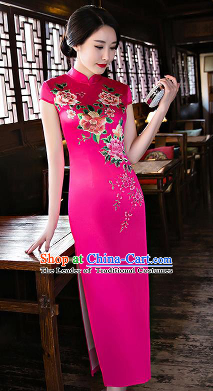 Chinese National Costume Handmade Tang Suit Qipao Dress Traditional Printing Peony Rosy Silk Cheongsam for Women