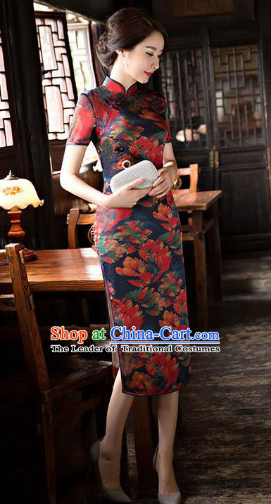 Chinese National Costume Handmade Tang Suit Qipao Dress Traditional Printing Watered Gauze Cheongsam for Women