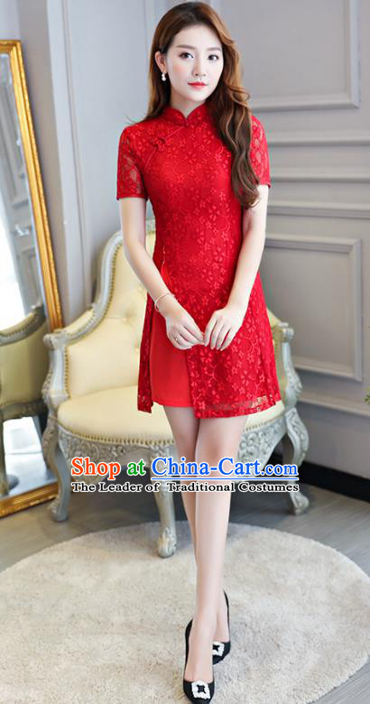 Chinese National Costume Tang Suit Red Lace Qipao Dress Traditional Cheongsam for Women