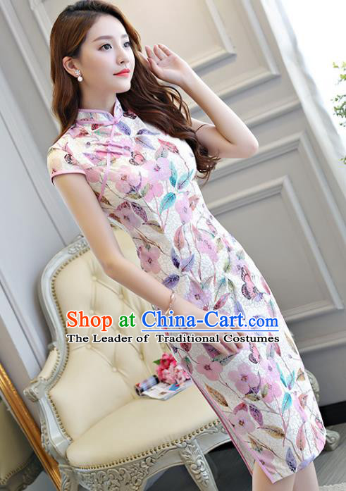 Chinese National Costume Tang Suit Printing Lilac Qipao Dress Traditional Cheongsam for Women