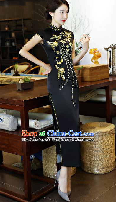 Chinese National Costume Tang Suit Printing Black Satin Qipao Dress Traditional Cheongsam for Women