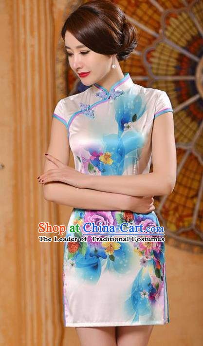 Chinese National Costume Tang Suit Printing Rose White Silk Qipao Dress Traditional Wedding Cheongsam for Women