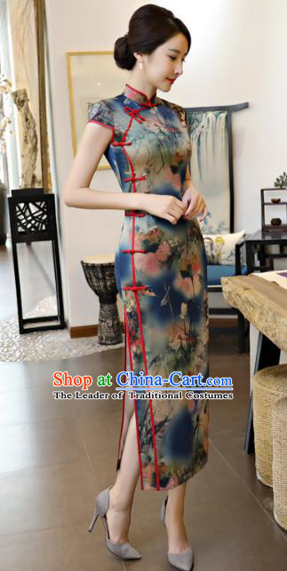 Chinese National Costume Tang Suit Printing Lotus Navy Qipao Dress Traditional Republic of China Cheongsam for Women