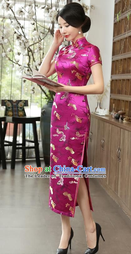 Chinese National Costume Tang Suit Qipao Dress Traditional Republic of China Rosy Brocade Cheongsam for Women