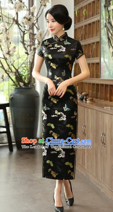 Chinese National Costume Tang Suit Qipao Dress Traditional Republic of China Black Brocade Cheongsam for Women