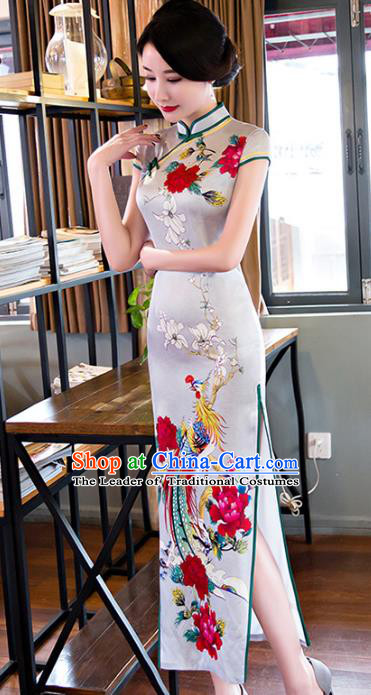 Chinese National Costume Tang Suit Qipao Dress Traditional Republic of China Printing Phoenix Cheongsam for Women