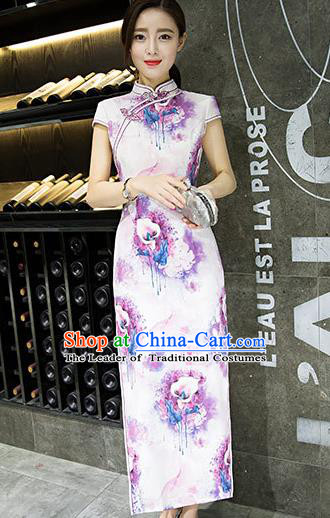 Chinese Top Grade Retro Printing Lily Flowers Purple Silk Qipao Dress Traditional Republic of China Tang Suit Cheongsam for Women