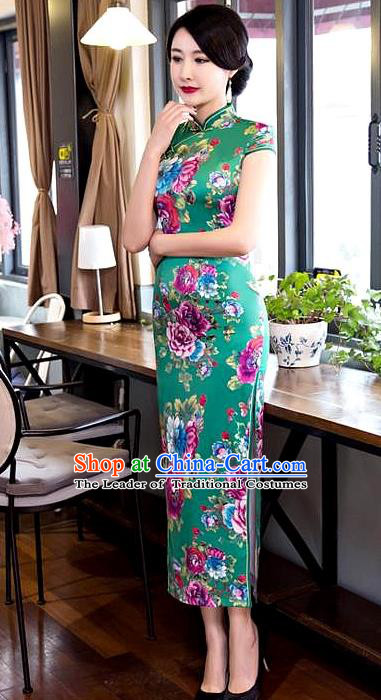 Chinese Top Grade Elegant Printing Peony Flowers Green Silk Qipao Dress Traditional Republic of China Tang Suit Cheongsam for Women
