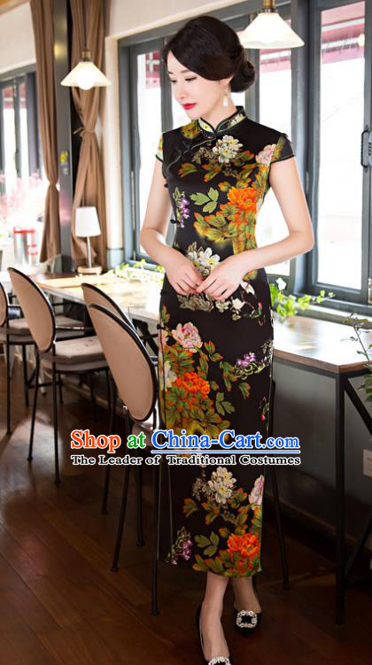 Top Grade Chinese Elegant Cheongsam Traditional China Tang Suit Printing Peony Black Silk Qipao Dress for Women