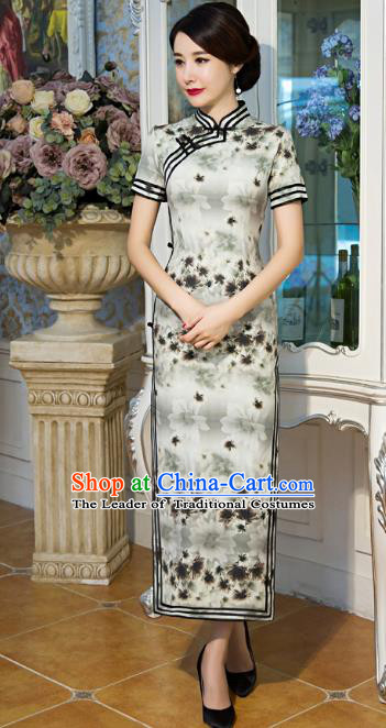 Top Grade Chinese Elegant Cheongsam Traditional China Tang Suit Printing Grey Silk Qipao Dress for Women