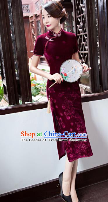 Top Grade Chinese Elegant Cheongsam Traditional China Tang Suit Wine Red Velvet Qipao Dress for Women