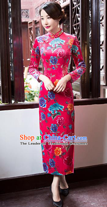 Top Grade Chinese Elegant Rosy Cheongsam Traditional China Tang Suit Printing Peony Qipao Dress for Women