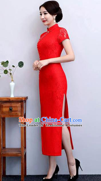 Top Grade Chinese Elegant Red Lace Cheongsam Traditional China Tang Suit Qipao Dress for Women
