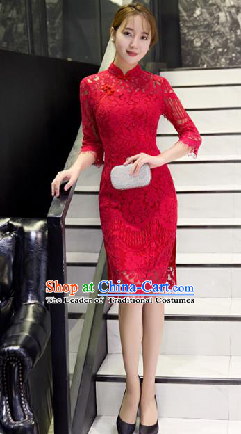 Top Grade Chinese Elegant Red Lace Tassel Cheongsam Traditional China Tang Suit Qipao Dress for Women