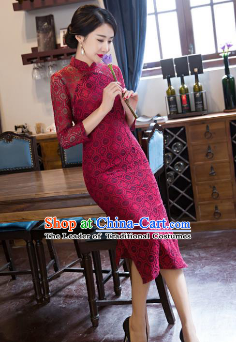 Top Grade Chinese Elegant Cheongsam Traditional China Tang Suit Wine Red Lace Qipao Dress for Women
