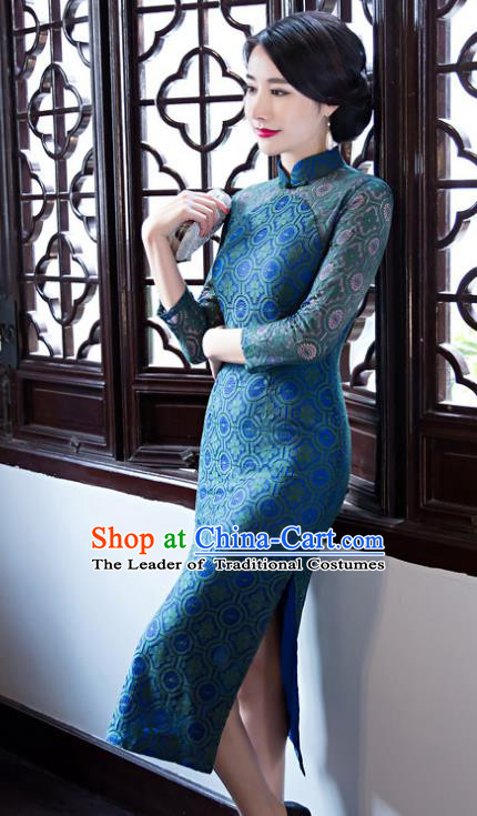 Top Grade Chinese Elegant Cheongsam Traditional China Tang Suit Blue Lace Qipao Dress for Women